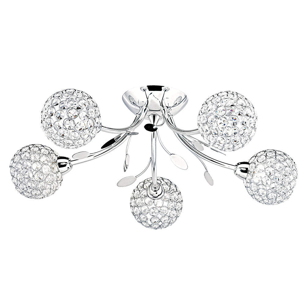 Bellis Ii 5 Lights Hoops Glasss Buttons Chrome Flush Ceiling Fitting