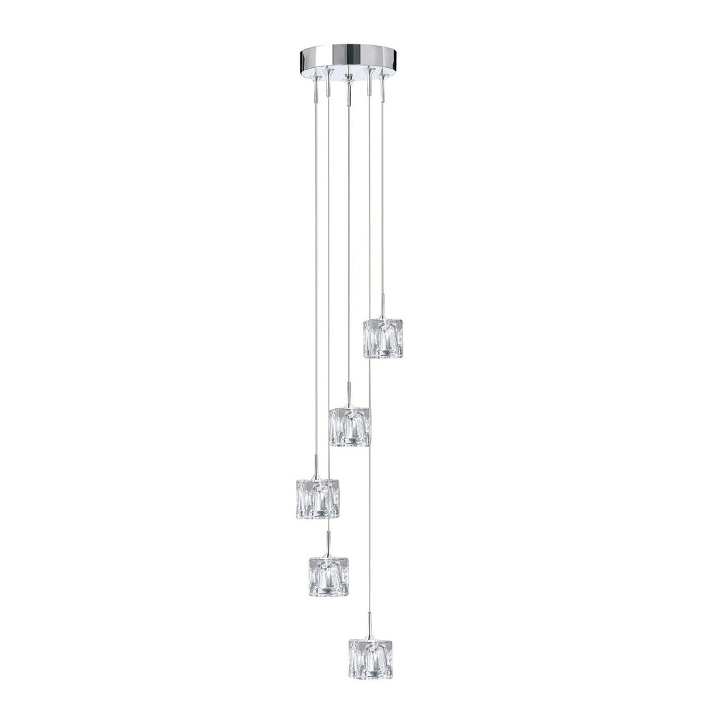 Ice Cube LED 5 Multi Drop Chrome Clear Glass Pendant Ceiling Light
