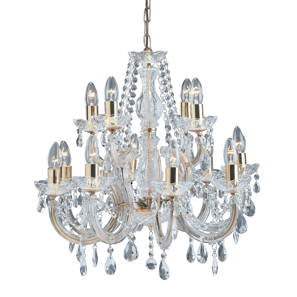 Marie Therese 12 Lights Brass Traditional Chandelier Ceiling Light