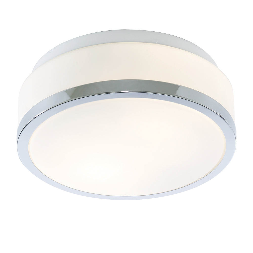 23cm Modern Chrome White Glass Bathroom Flush Fitting Ceiling Light