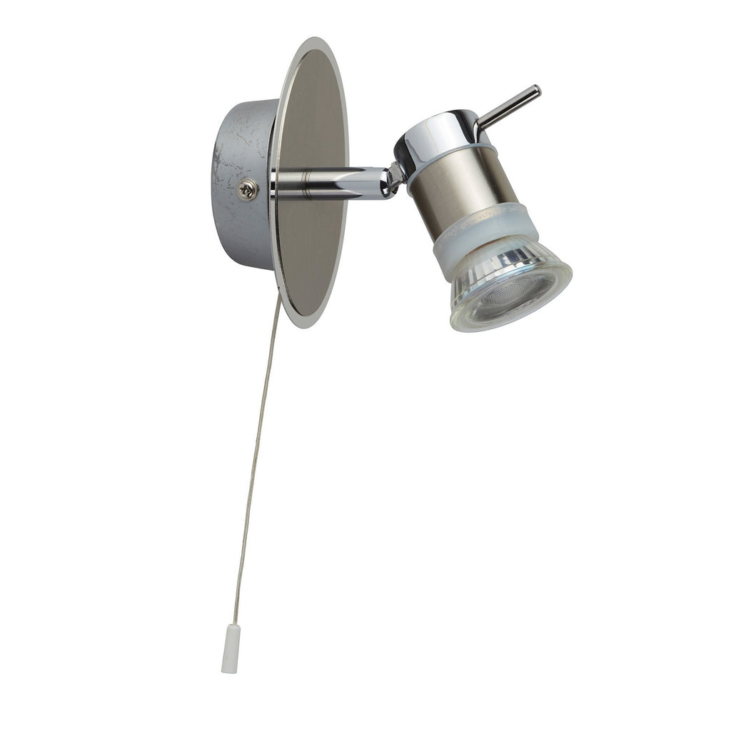 Aries 1 Light Chrome & Satin Silver Adjustable Head Wall Spotlight