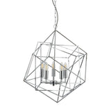 Cube 5 Lights LED Chrome Geometric Cube Frame Pendant Ceiling Light