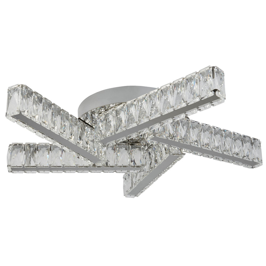 Clover 5 Lights Chrome Clear Crystal Ceiling Flush Indoor Lighting