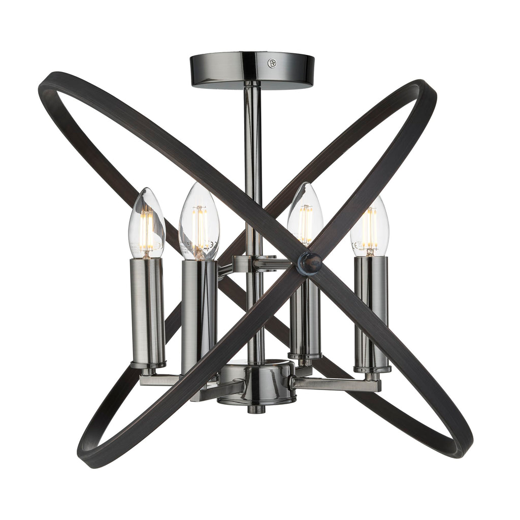 Searchlight Hoopla 4 Light Semi Flush Pewter