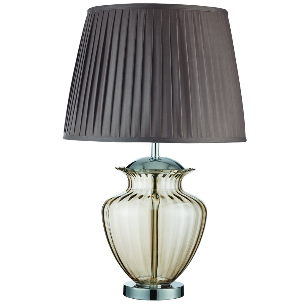 Urn Chrome Bedside Table Lamp With Amber Glass & Pleated Shade