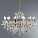 Paris 12 Lights Antique Brass Clear Crystal Drops Ceiling Chandelier