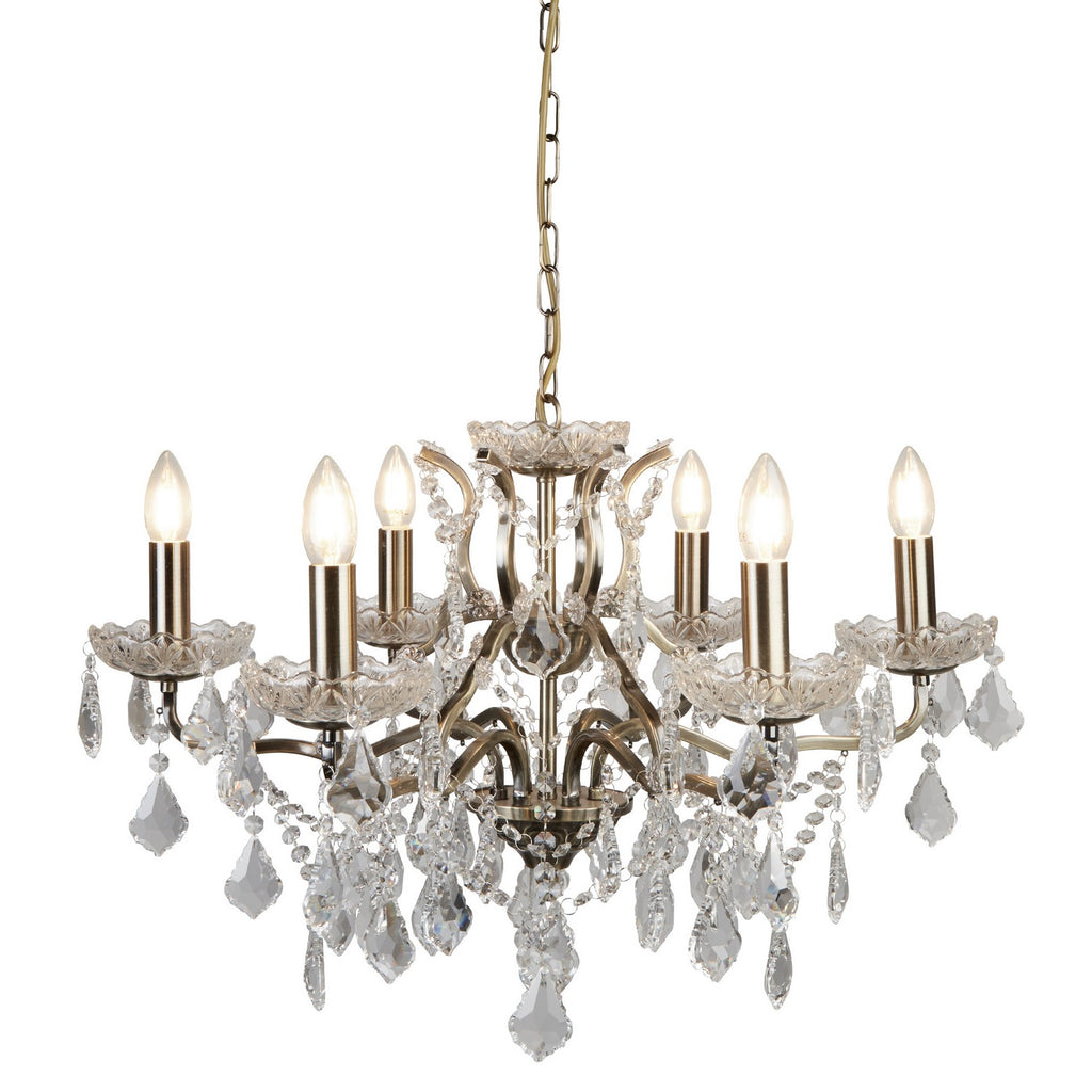 Paris 6 Lights Antique Brass Clear Crystal Drops Ceiling Chandelier
