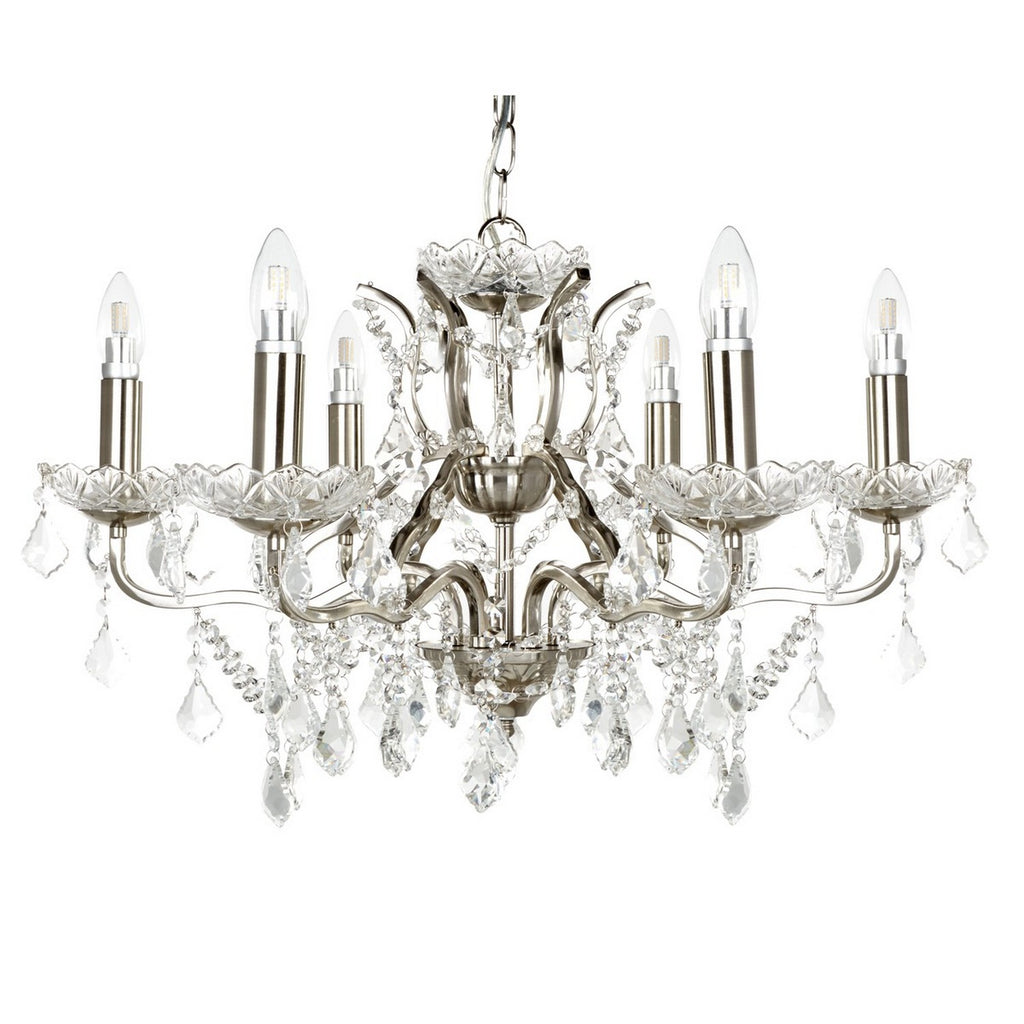 6 Light Chandelier Clear Crystal Drops And Trim Ceiling Lamp
