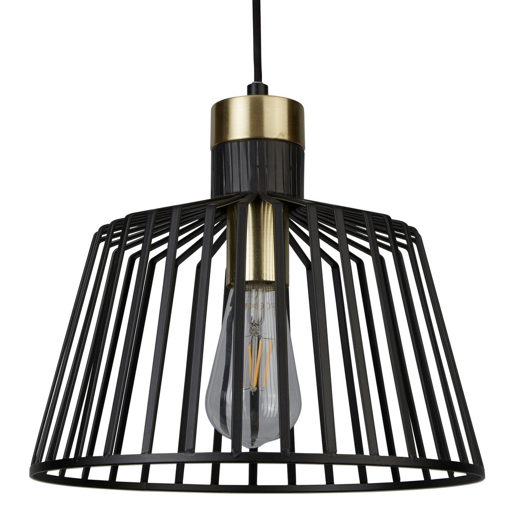 LED 30cm Black/Gold Bird Cage Frame Ceiling Pendant Home Lighting