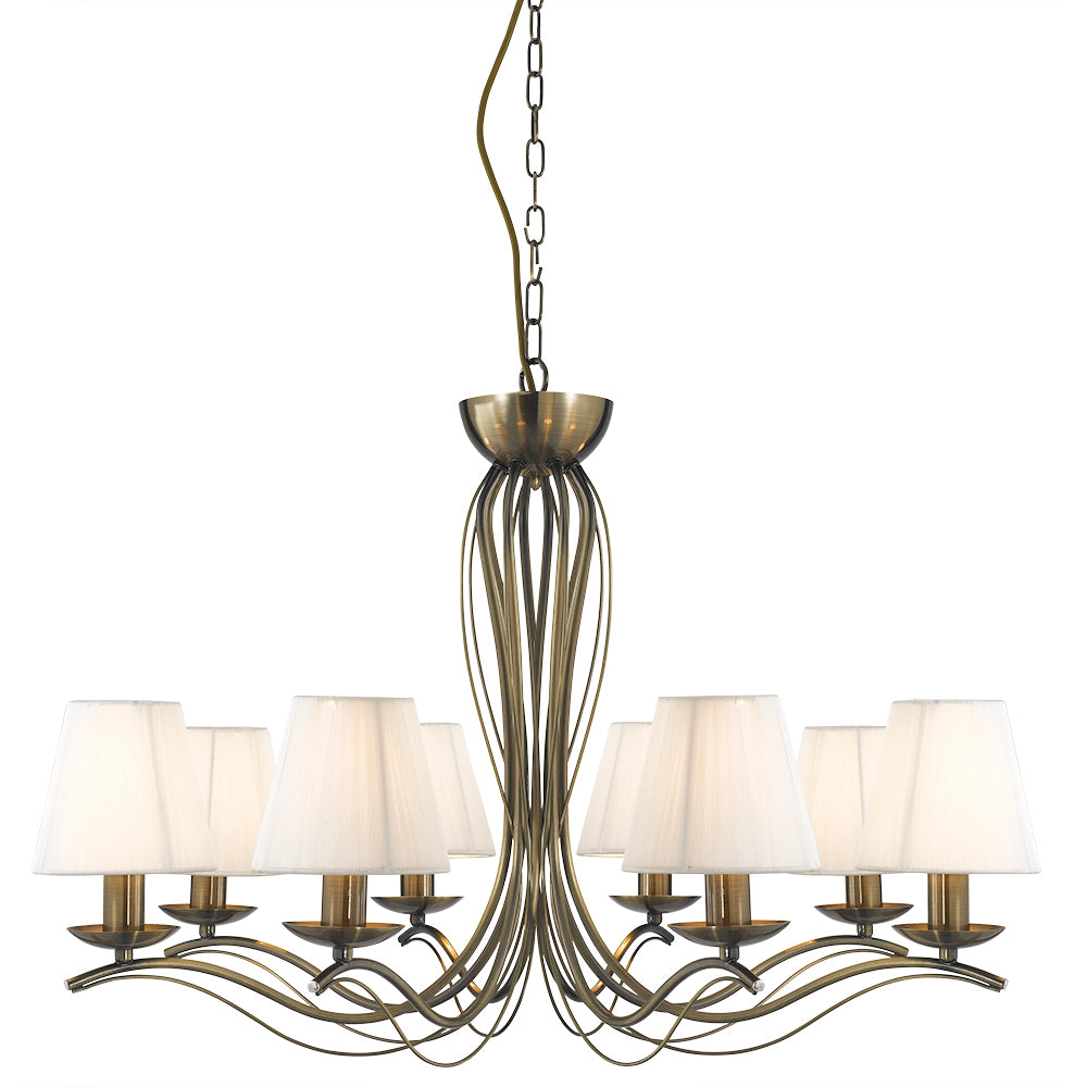 8 Lights Traditional Brass Cream Shades Ceiling Pendant Chandelier