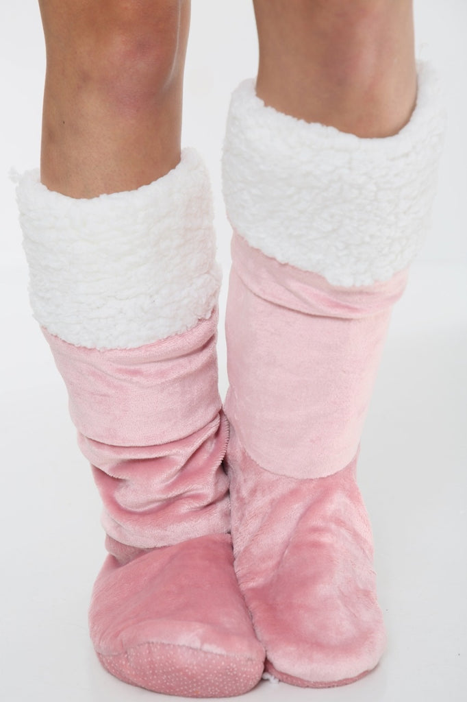 Plush Sherpa Fleece Slipper Gripper Socks - Blush Pink