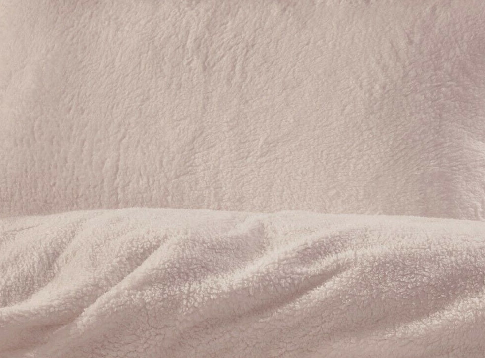 Teddy Bear Fleece King Duvet Cover Set - Blush Pink