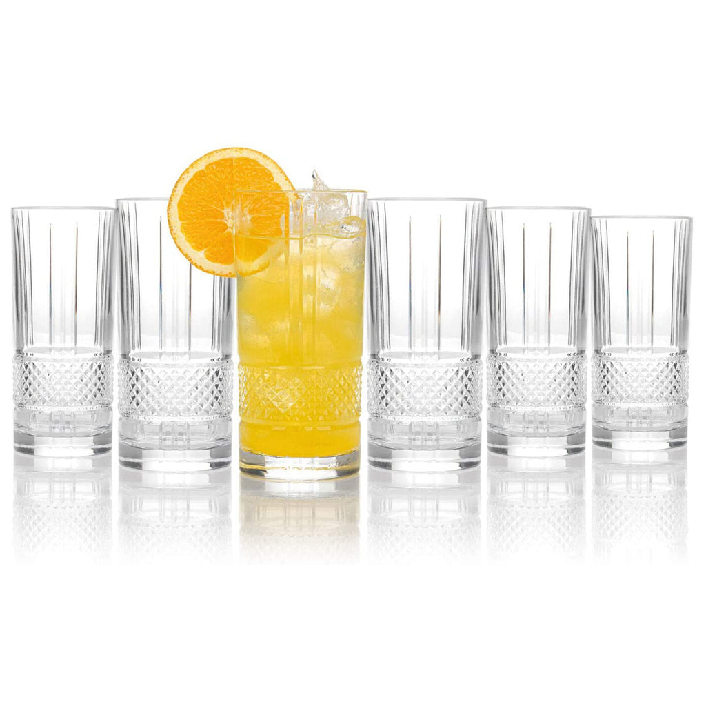 Set Of 6 Brillante Luxion Crystal Hi-Ball Tumblers