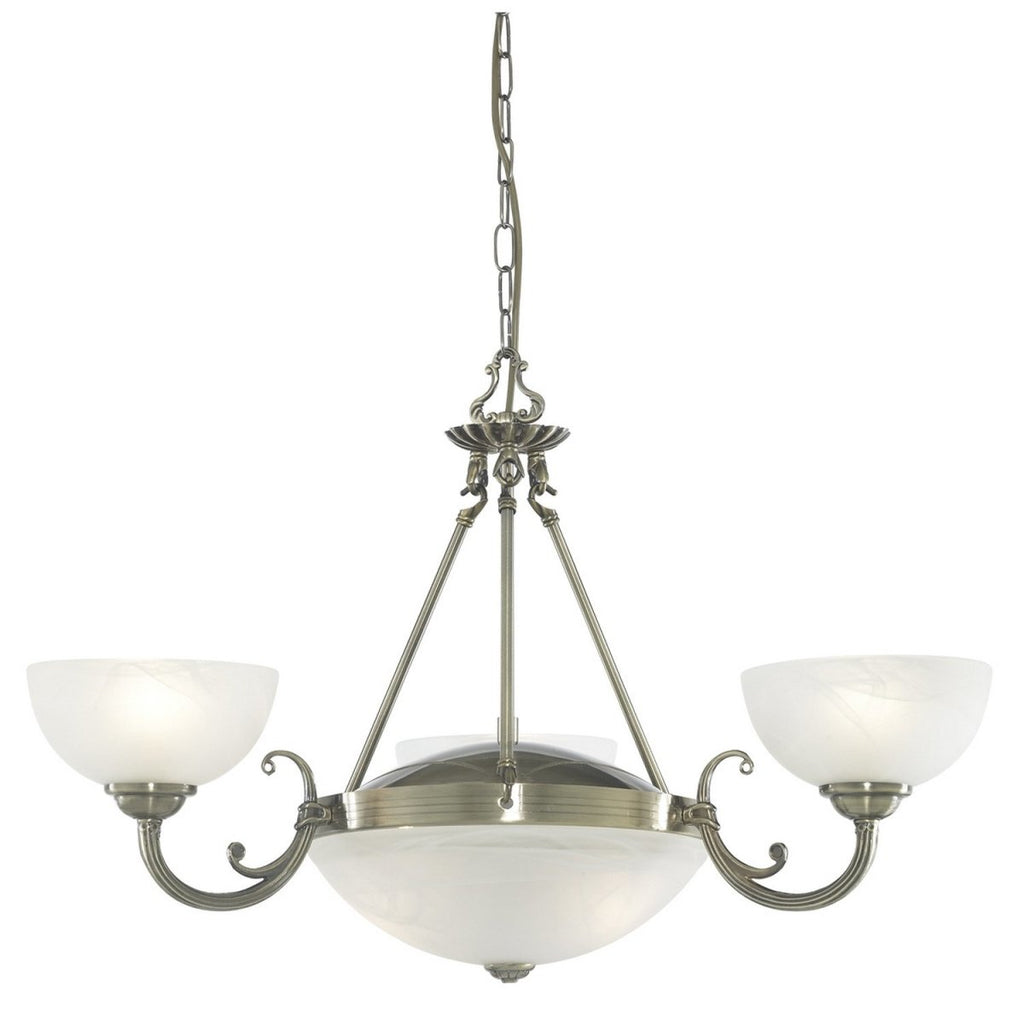 Windsor Antique Brass 5 Light Chandelier Pendant Fitting Alabaster Glass Shades - Bonnypack