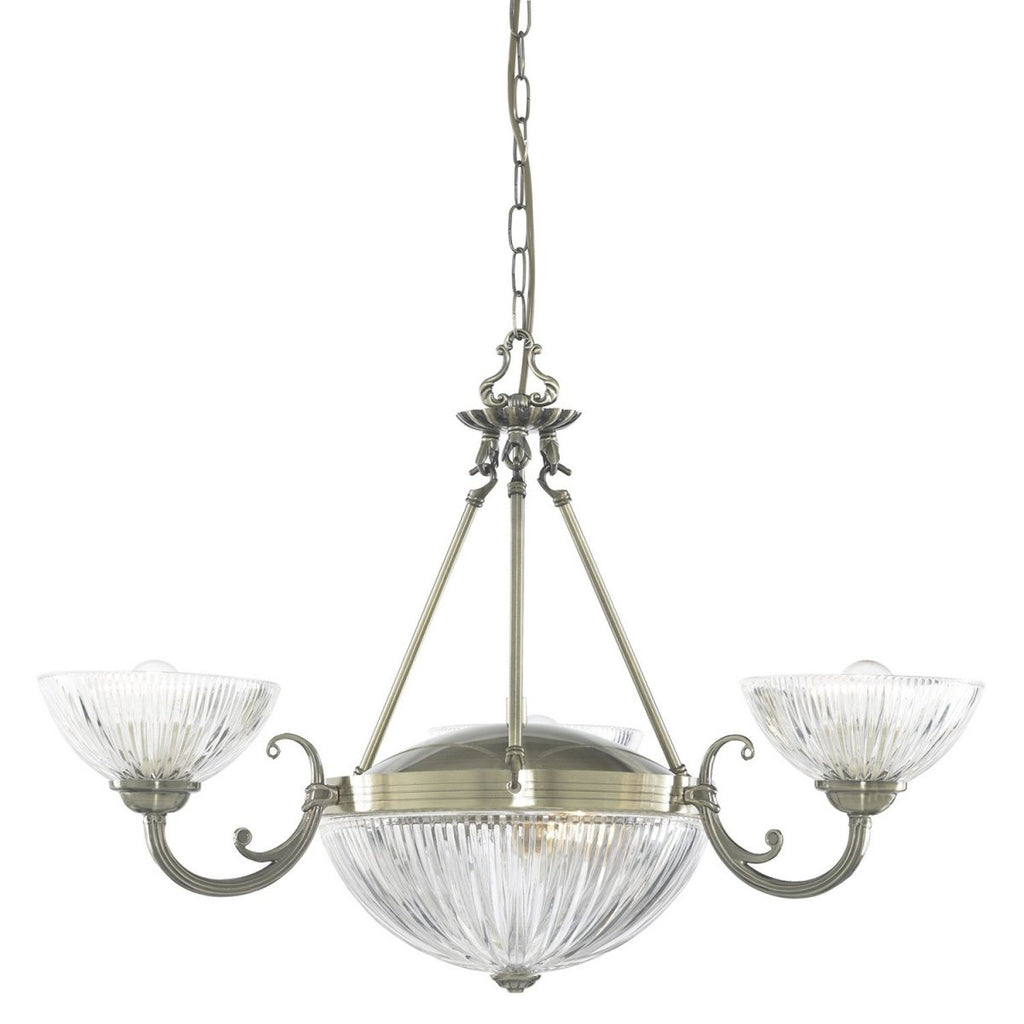Windsor Ii 5 Light Ceiling Pendant Fitting With Clear Ribbed Glass - Bonnypack