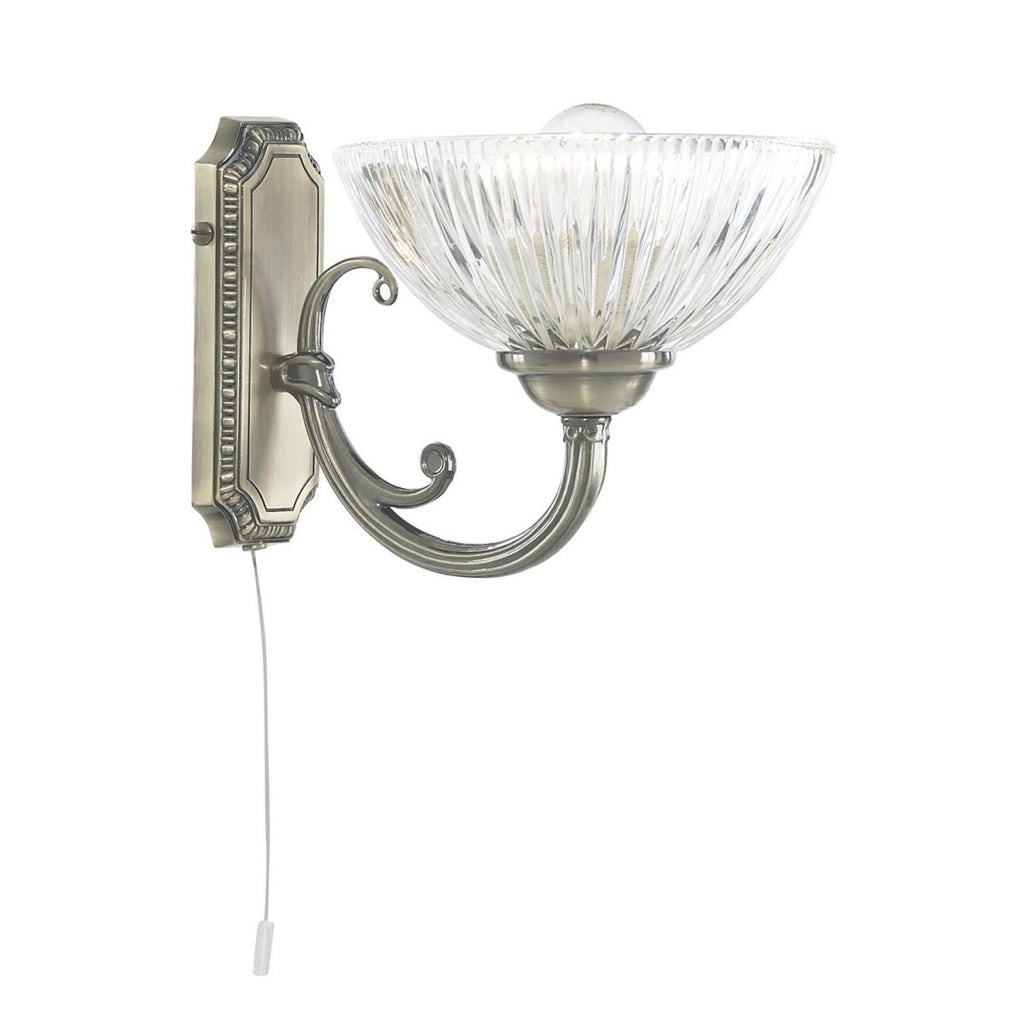 Windsor Ii Antique Brass Wall Light Interior Fitting Clear Ribbed Glass Shade - Bonnypack