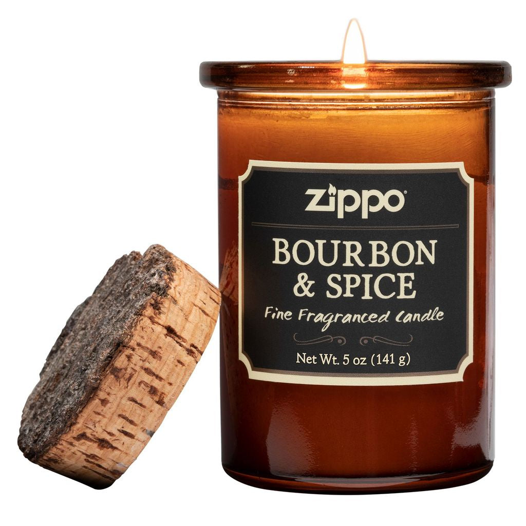 Zippo Spirit Dark Bourbon and Spice Fine Fragranced 35 Hours Glass Candle Jar