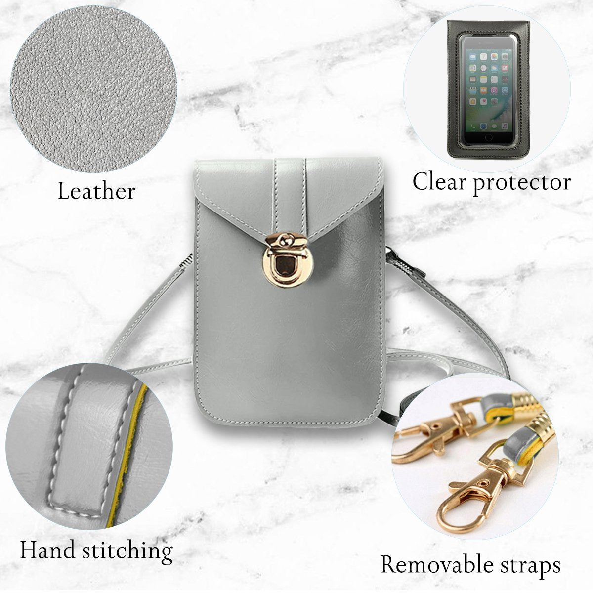 Kara Touch Screen Waterproof Leather Crossbody Phone Bag for iPhone, Galaxy & Other