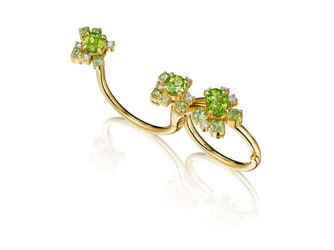 Melting Ice Peridot Double Finger Swivel Ring