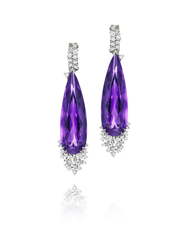Melting Ice Amethyst and Diamond Drop
