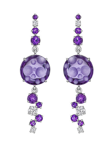 Melting Ice Amethyst Bubble Drop Earrings