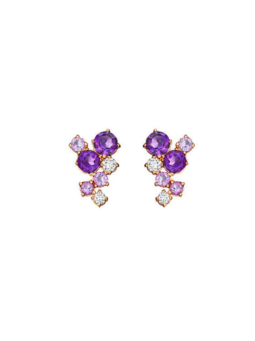 Melting Ice Amethyst Stud Earring
