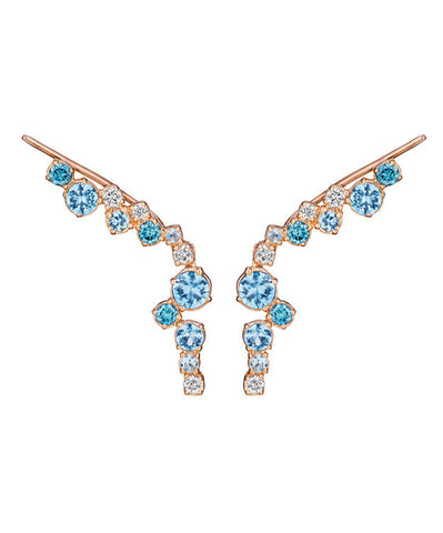 Melting Ice Blue Topaz Drop Climber Earrings
