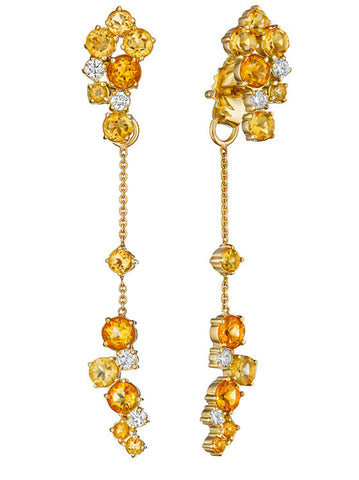 Melting Ice Citrine Back Front Earring