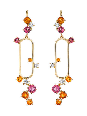 Melting Ice Citrine Pink Tourmaline Open Drop Earring