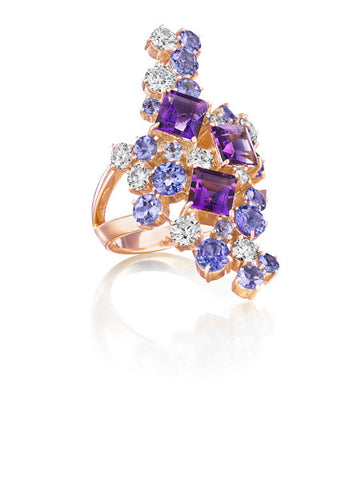 Melting Ice Tanzanite and Amethyst Cocktail Ring