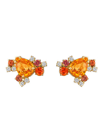 Melting Ice Orange Sapphire Earring Studs