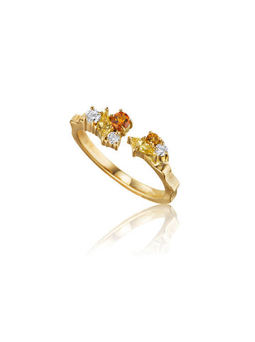 Melting Ice Citrine Open Stack Ring