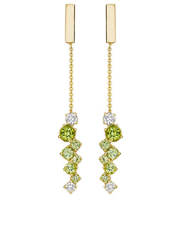 Melting Ice Peridot Bar Drop Earring