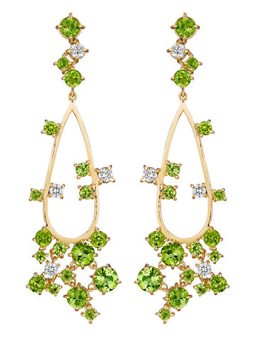 Melting Ice Peridot Open Earring