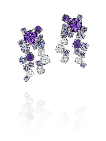Melting Ice Diamond and Purple Sapphire Earrings