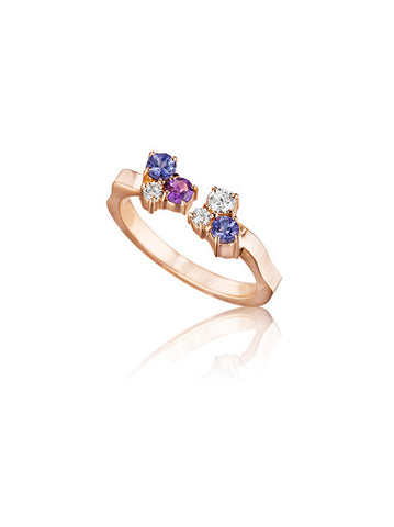 Melting Ice Amethyst Tanzanite Open Stack Ring