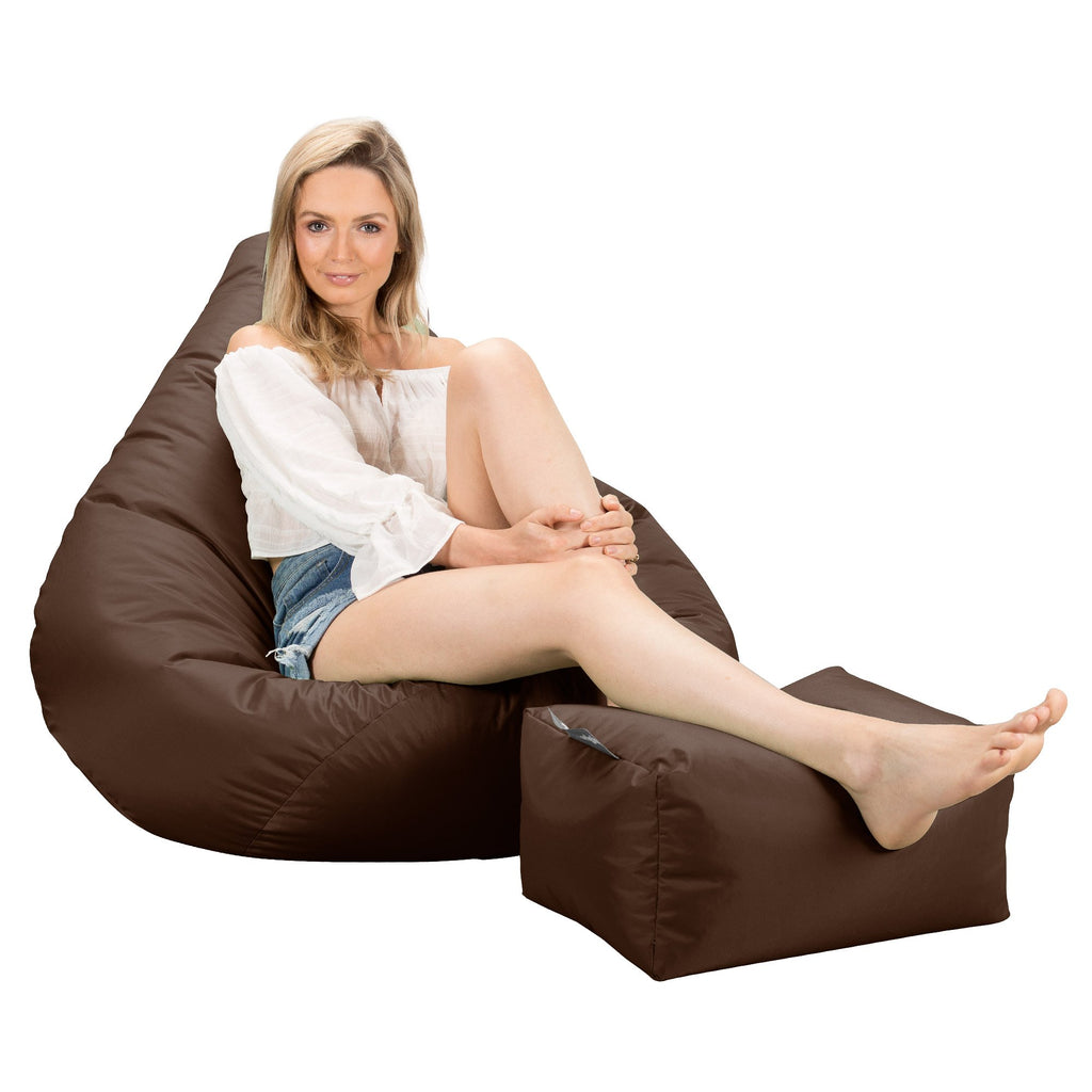 Beanbags Big Bertha Original highback footstool bean bag brown_1