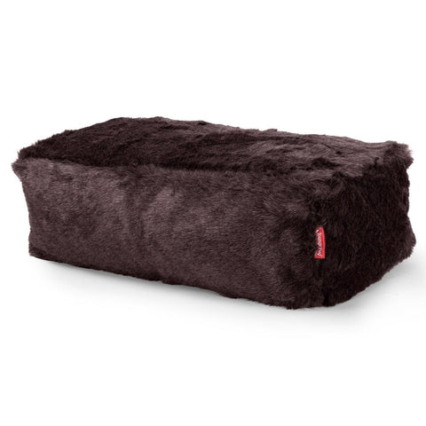 CloudSac 100 - The Memory Foam Footstool - Fluffy Faux Fur Badger Black