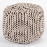 Square Chunky Knit Footstool Pouffe - Grey