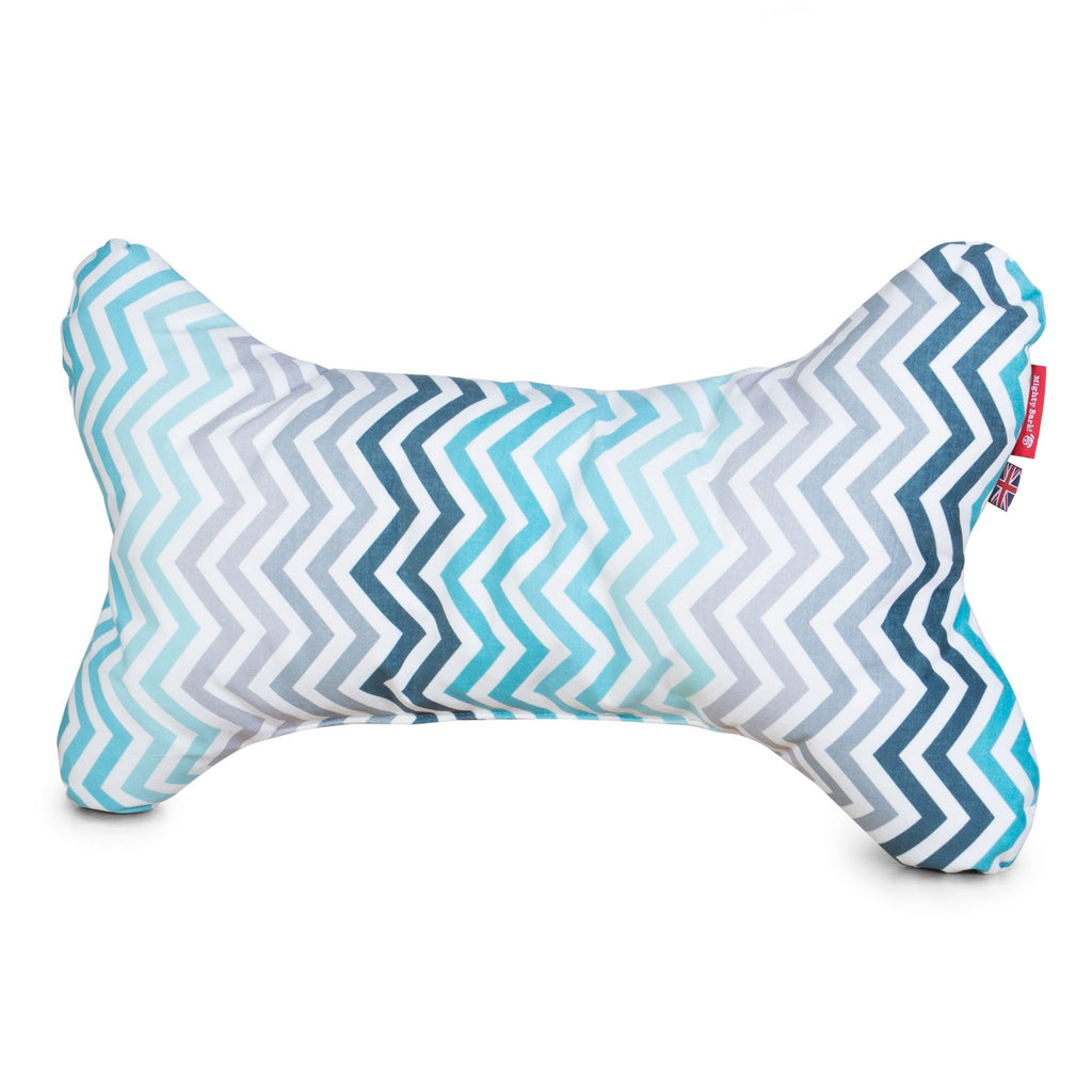 The Bone - Bone Shaped Pillow For On Dog Beds - Geo Print Chevron Teal