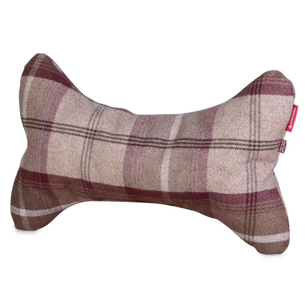 the-bone-bone-shaped-pillow-for-on-dog-beds-tartan-mulberry_1