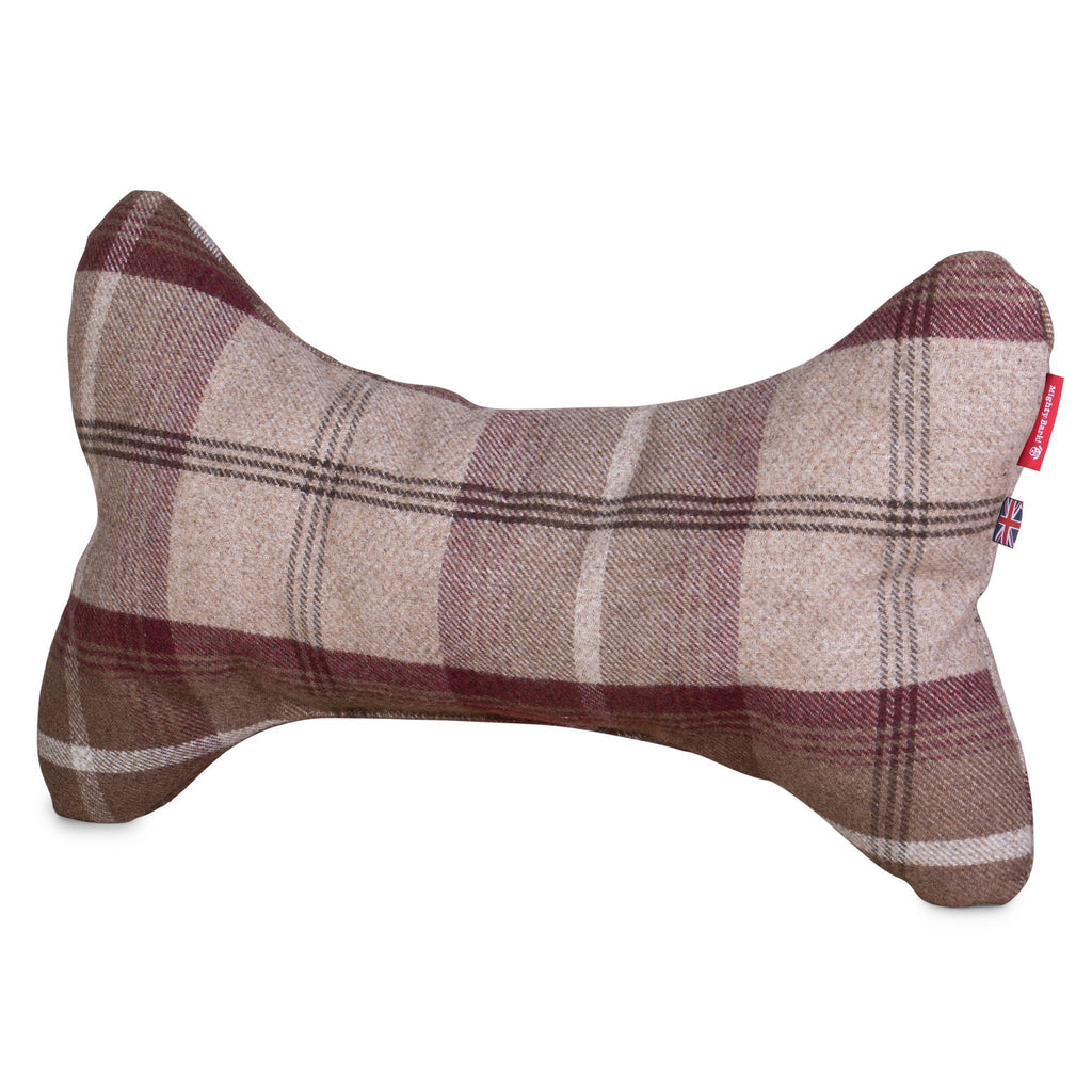The Bone - Bone Shaped Pillow For On Dog Beds - Tartan Mulberry