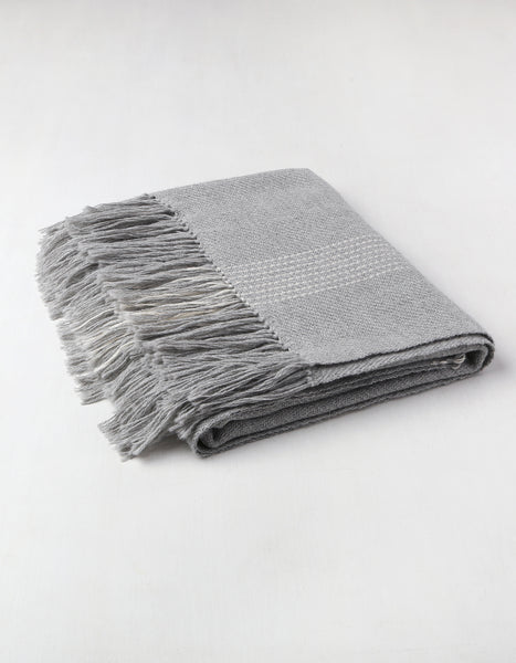 Baby Alpaca Smoke Grid Throw Blanket