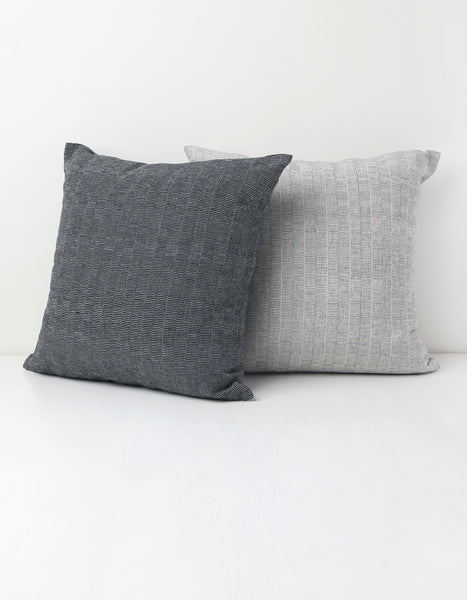 Black and White Dash Textured Cotton Pillow