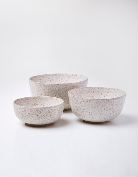 Freckled Oatmeal Stoneware Nested Bowl Set
