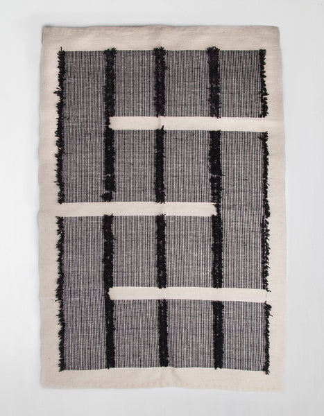 Cream and Black Textured Reversible Rug