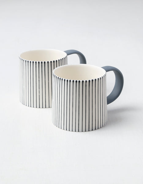 Lines Two Tone Porcelain Mug Pair