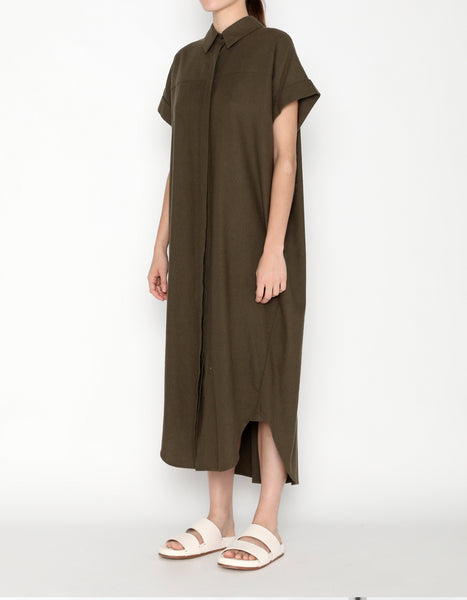 SIGNATURE RAW SILK MAXI SHIRTDRESS