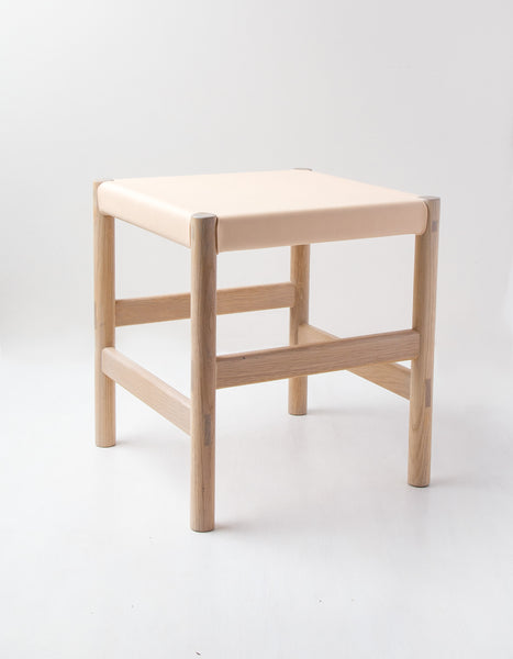 Nude Simple Leather Oak Stool