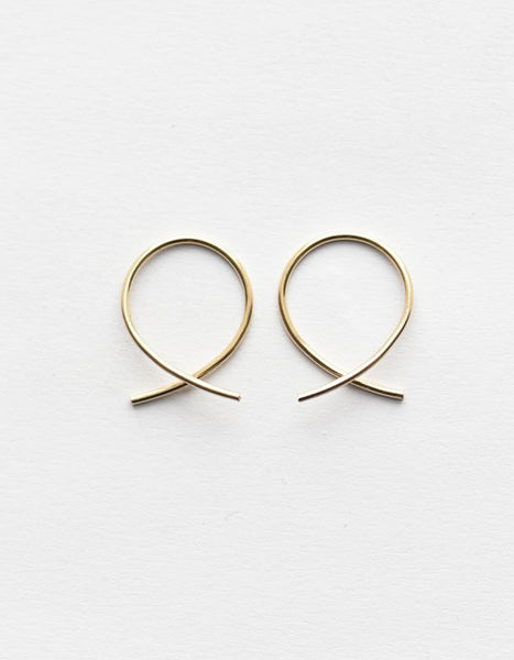 14K Gold Petite Crossover Round Threader